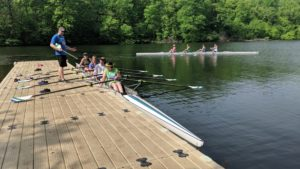 Rowers on the dock
